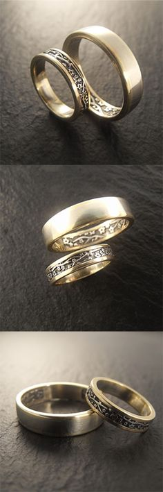 Handmade Cherry Blossom wedding set in 14k white and yellow gold. By Chuck Domitrovich of Down to the Wire Designs