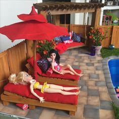 Doll Swimming Pool, girls hanging poolside