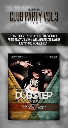 Club Party Flyer / Poster Template #design #print Download: http://graphicriver.net/item/club-party-flyer-poster-vol-3/12009952?ref=ksioks