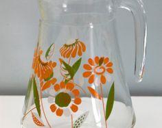 Vintage Glass Jug Drinking Serving Summer Retro Glass Jug Kitsch Orange Floral Cocktail Drinks Pitcher Beverage 1970s