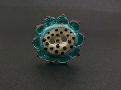 lampwork flower button bead.. sra by DeniseAnnette on Etsy, $12.00