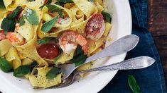 Parpadelle Pasta with Tiger Prawns - Lurpak Pasta Recipies, Prawn Recipes, Seafood Recipes, Cooking Recipes, Noodle Recipes, Prawn Pasta, Seafood Risotto, Tiger Prawn Recipe, Salads