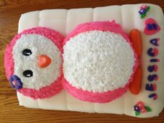 Pink penguin cake ready for a party.