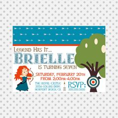 Brave Inspired Invitation - Brave Party - Princess Merida - Brave party supplies