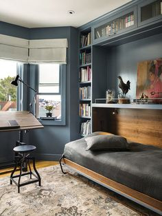 Bedroom Hidden Bed And Desk Wall Bed Murphy Bed Office Furniture Folding Bed Desk Combination Modern Murphy bed for Space Saving—guest room Murphy Bed Office, Murphy Bed Ikea, Murphy Bed Plans, One Room Flat, Home Office, Bedroom Office, Office Bed, Modern Murphy Beds, Window Bed