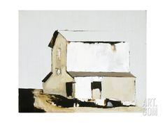 size: Premium Giclee Print: White Barn by Sandra Pratt : Botanical Framed Artwork, Framed Prints, Canvas Prints, Big Canvas, Large Artwork, Barn Art, White Barn, My Living Room, Landscape Paintings