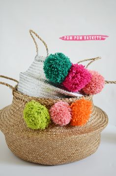 diy | pom pom baskets