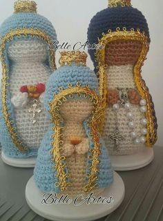 Santinhas Knitted Dolls, Crochet Dolls, Knit Crochet, Knitting Projects, Crochet Projects, Crochet Stitches, Crochet Patterns, Origami And Quilling, Crochet Angels