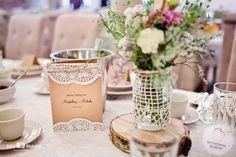 dekoracje ślubne karty menu rustykalne
