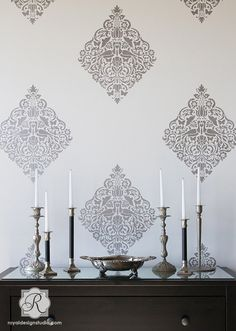 Lace Bird Damask Wall Stencil for Allover by royaldesignstencils