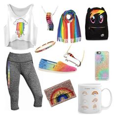 """""""Rainbows are magical"""" by pjax2 ❤ liked on Polyvore featuring Victoria's Secret, Anya Hindmarch, Skechers, Casetify, Sydney Evan, women's clothing, women's fashion, women, female and woman"""