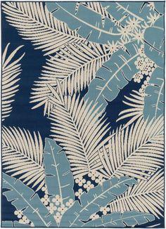 Blue Tropical Palm Leaf Rug: http://www.caronsbeachhouse.com/blue-tropics-area-rug/