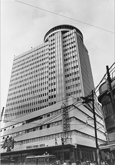 The Manila Royal Hotel in the 1970s. The hotel is famous for its revolving restaurant. The building is now abandoned.