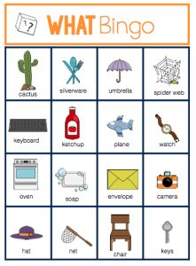 "Wh- Question Bingo, ""A resource I gravitate too..."" by theautismhelper.com"