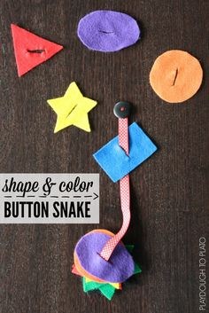 Shape and Color Button Snake. Great busy bag for preschoolers. Easy, screen-free entertainment when kids have to wait.
