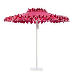 Petite Flamenco aluminum umbrella with White frame in Tropical Pink, with Natural edge binding.