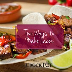 Whether you prefer veggies or meat, there's a slow cooker taco recipe for you! Here are two options for your next Taco Night. paleo crockpot for two Crock Pot Tacos, Slow Cooker Tacos, Slow Cooker Soup, Slow Cooker Recipes, Crockpot Recipes, Cooking Recipes, Mexican Food Recipes, Vegetarian Recipes, Taco Recipe