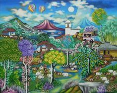Título:El Paraiso de mi Pueblo. Artista:Alvaro Gaitan Barrios. Técnica:Oleo sobre Lienzo. Año:2010. Lugar:Masaya.