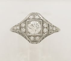 Art Deco Engagement Ring .46ct. Diamond & Platinum - EGL Certificate - J33350 - pinned by pin4etsy.com