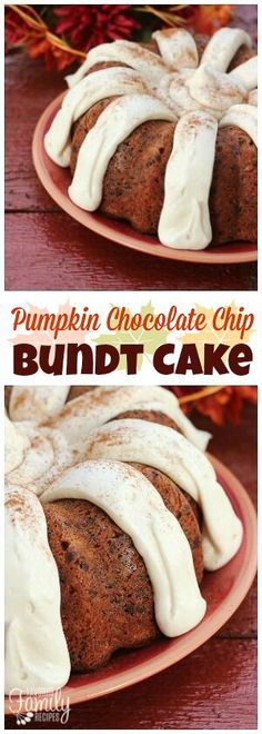 This Pumpkin Chocolate Chip Bundt Cake tastes JUST like the seasonal cake from Nothing Bundt Cakes! The cream cheese frosting is to die for! via @favfamilyrecipz