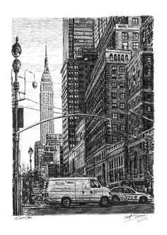 Stephen Wiltshire is an artist who draws detailed cityscapes, skylines and street scenes. Buy the original drawing of Street scene of street New York Amazing Drawings, Colorful Drawings, Amazing Art, Detailed Drawings, Awesome, New York Drawing, City Drawing, Stephen Wiltshire, Autistic Artist