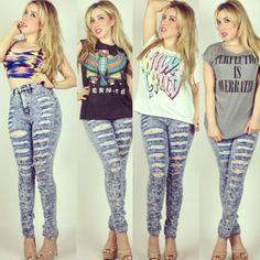 Blue acid wash high waist jeans now online www.mynuevamoda.com  Shop smart Save big!  #highwaist #ootd #ootn #fashion #style #trendy #fall #denim