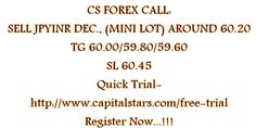 CS FOREX CALL: SELL JPYINR DEC., (MINI LOT) AROUND 60.20  TG 60.00/59.80/59.60  SL 60.45  Quick Trial-http://www.capitalstars.com/free-trial Register Now...!!!
