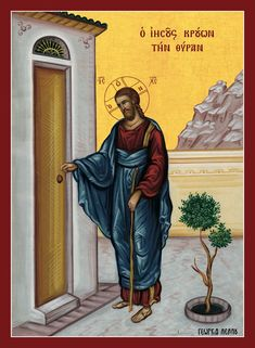 Behold, I stand at the door and knock. If anyone hears My voice and opens the door, I will come in to him and dine with him, and he with Me. To him who overcomes I will grant to sit with Me on My. Byzantine Art, Byzantine Icons, Religious Icons, Religious Art, Miracles Of Jesus Christ, Church Icon, Jesus Mary And Joseph, Religious Paintings, Biblical Art
