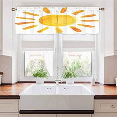 Adorise Window Valance Illustration Childish Watercolor Brush Painting Style Kids Playroom Picture Yellow Printed Window Valance for Bedroom, Living Room, Kitchen 42 x 18 Inch White Faux Wood Blinds, Bamboo Roman Shades, Wood Valance, Orac Decor, Horizontal Blinds, Kitchen Valances, Country Curtains, Living Room Kitchen