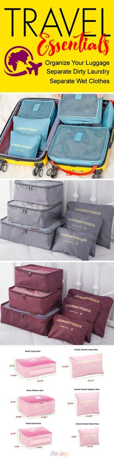 Waterproof Travel Organizing and Packing Bags/Pouches - www.allthecutestuff.com/travelcubes  These super cute luggage organizer bags are a travel essential. Create more space in your suitcases, separate dirty laundry and keep wet stuff separate with these high-quality, waterproof travel bags.