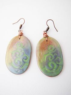 Colorful Om mantra dangle earrings Polymer clay Summer by Nuann,