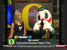 The Oregon Duck being interviewed on ESPN = oh so cool!! #nationalbrand