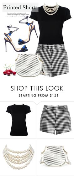 """Prints Charming:A Shorts Story"" by yukotange ❤ liked on Polyvore featuring R13, Sandy Liang, Christian Dior, Cynthia Rowley, Aquazzura and printedshorts"