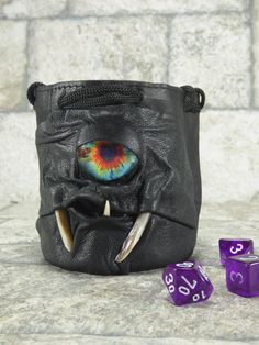 Dice Marble Bag Fairy Pouch With Face RPG Drawstring Black Rune Gamer Black Leather