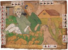 Untitled (Two Girls and a Dog Sitting in Garden) Henry Darger (1892–1973) Chicago 1959 or later | American Folk Art Museum