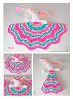 Our Bunny is here to accompany the little ones in their first steps ♥♥♥ Let& learn a little about it . What is an baby blanket? The baby blankets a Crochet Lovey, Baby Girl Crochet, Crochet Bunny, Crochet Gifts, Crochet Motif, Baby Blanket Crochet, Crochet Toys, Crochet Patterns, Crochet Flower Tutorial