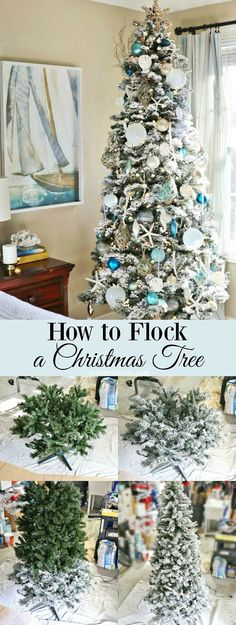 Flocked Christmas trees are so pretty aren't they? Learn How to Flock a Christmas Tree Yourself!