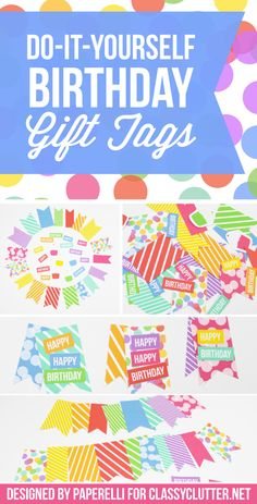Do It Yourself Birthday Gift Tags! Add a tag to make every present special! Click for tutorial