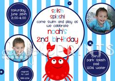 Crab Birthday Party Invite - Dimple Prints Shop