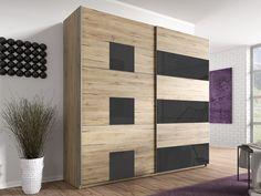 Šatní skříň se zrcadlem BETA dub san remo/grafit sklo - InHaus.cz Remo, Divider, Bedroom, Furniture, Home Decor, House, Decoration Home, Room Decor, Bedrooms