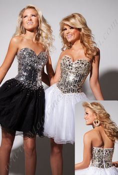 Short poofy prom dress(: kindah reminds me of the Love You Like a love song video(: