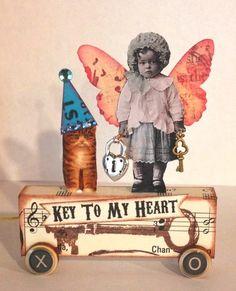Fairy Cat Key Heart Handmade Vtg Mixed Media Altered Art Collage Pull Toy OOAK | eBay