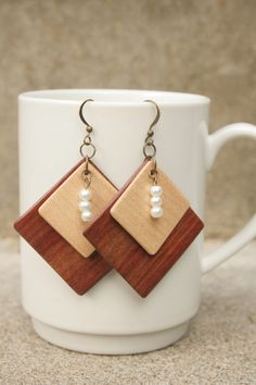 Square Wood Earrings with Beads  Bloodwood and by ngnicolegagnon, $35.00