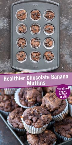 Healthier Chocolate Banana Muffins These are the best healthier banana chocolate muffins with no granulated sugar, butter or oil in the recipe! Make healthy chocolate muffins with bananas, greek yogurt, and honey. Healthy Chocolate Muffins, Healthy Banana Muffins, Healthy Muffin Recipes, Healthy Dessert Recipes, Delicious Desserts, Chocolate Muffin Recipe Easy, Thm Recipes, Healthy Yogurt, Healthy Sweets