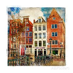 Amsterdam - Artwork In Painting Style Travel Art Print - 30 x 30 cm Beach Landscape, Cool Posters, Wallpaper S, Find Art, Custom Framing, Framed Artwork, Scenery, Art Prints, Abstract