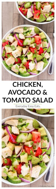 This healthy, satisfying Chicken, Avocado & Tomato Salad recipe is full of great, fresh flavors and is ready to eat in just 15 minutes!