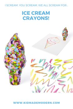 Ice Cream Crayon | Inspired by our Giant Crazy Crayon Collection and a love of frosty treats, we created our colorful ice cream cone crayon. Features a mix of yummy colors all melted together. #kidmademodern #icecream #freeDIY #freesummeractivity #summercrafts #summercampcraft #kidsDIY #craftsforkids Summer Camp Activities, Summer Camp Crafts, Rainy Day Crafts, Summer Diy, Beach Crafts For Kids, Camping Crafts For Kids, Craft Projects For Kids, Diy For Kids, Ice Cream Crafts