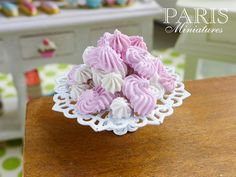 Display of Pink & White White Meringues on Shabby Chic Stand - 12th Scale Miniature Food