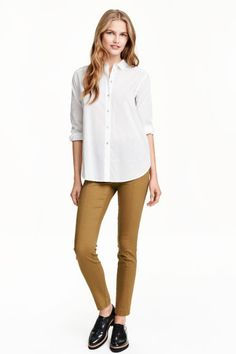 Superstretch treggings: Treggings in superstretch twill with concealed elastication at the waist and slim legs with a seam down the centre.