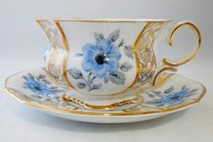 Antique, Collingwoods Bone China Tea Cup and Saucer, England, Blue Gold Tea Cup